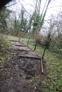 Steps and edging complete awaiting gravel and handrail